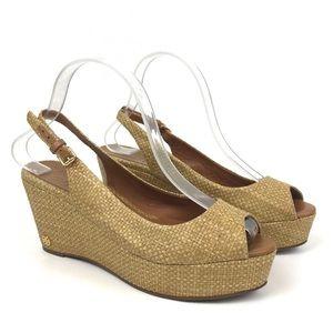 Tory Burch Rosalind rafia woven wedge sandal heel